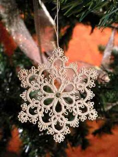 Tatted snowflake ornament