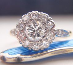 Engagement Ring Vintage Diamond Cluster by SweetHeirloomVintage, $2200.00