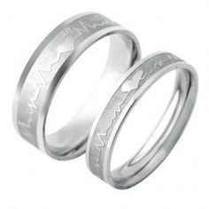 "Stainless Steel ""Heartbeat Graphic"" Engraved Couple Rings Set for Engagement, Promise, Eternity R008 (His Size:7-11; Her Size:5-8). Please Email Sizes Eeva' jewelry, http://www.amazon.com/dp/B008LESLXU/ref=cm_sw_r_pi_dp_EGi4qb1J7KWWP"