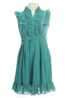 love the #ruffles and the #color #teal #pretty #romantic #chic #fashion #style #dress