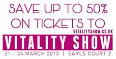 Use the code VIBRATOR when booking your tickets for the Vitality Show to get a whopping 50% off your ticket price.