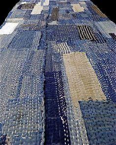 example of sashiko stitching on boro futon cover