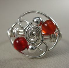 Wire Wrapped Ring Carnelian and Sterling Silver by holmescraft,