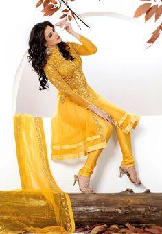 #Yellow Net Churidar Kameez