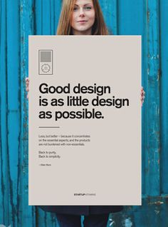 """Poster """"Good design is as little design as possible"""" by Dieter Rams"""