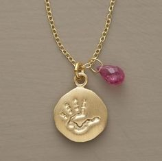 Baby Handprint + Birthstone Necklace - Great for New Moms