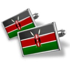 "Neonblond Cufflinks ""Kenya Flag"" - cuff links for man"