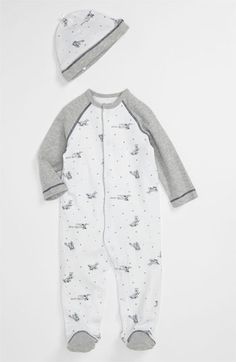 Gray vintage airplane newborn footie & hat, this will be Cohen's take home outfit <3 JUST ORDERED