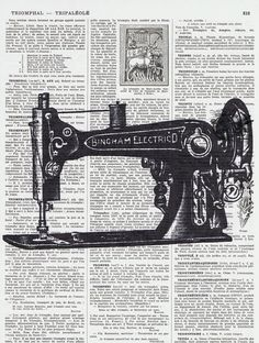 sewing machine silhouette print