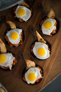 Serving your entrees or appetizers in an individually sized skillet will keep your guests' food warm as well as add a touch of rustic appeal to your wedding's design.
