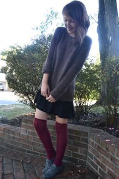 dark red over the knee socks