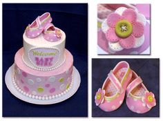 The Soon-to-Be-Mom didn't want anything fancy but some polka dots. Her only requirement was to use butter cream instead fondant. I decided to dress it up with girly shoes. Mom-to-be liked them so much that she decided to keep shoes as a decoration for baby's first birthday.