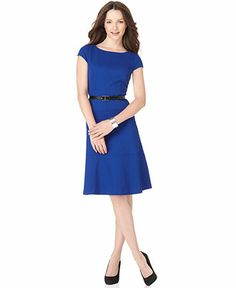 $70 Anne Klein Dress, Cap Sleeve Belted Textured A-Line - Dresses - Women - Macy's