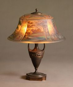 pairpoint lamp, four-seasons and reverse-painted