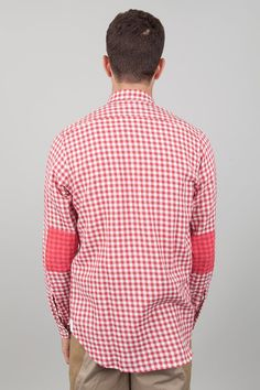Folk Clothing: Printed Elbow Patch Shirt - Large Red Gingham