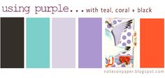 notes on paper: Purple Phase: purple with teal, coral + black