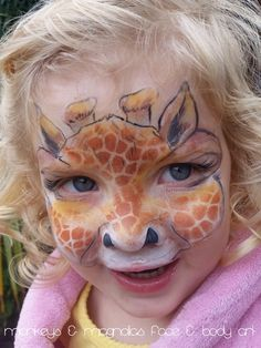 Giraffe face painting - Monkeys and Magnolias face and body art | my quick and simplified design influenced by the amazing daizy design