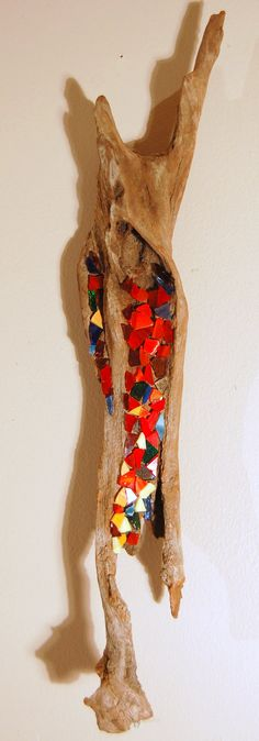 Driftwood Mosaic Art Wall Hanging One-of-a-Kind on Etsy, $45.00