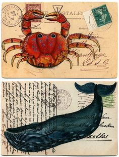 vintage postcards, art journal sea, illustrated journal, watercolor postcard, old postcards, whale art, journal whale, illustration whale, mail art