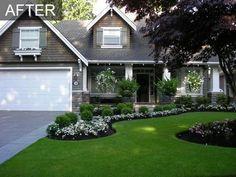 , yard garden, white flowers, landscaping ideas, front yard landscaping, front yards, curb appeal, house colors, flower beds, yard ideas