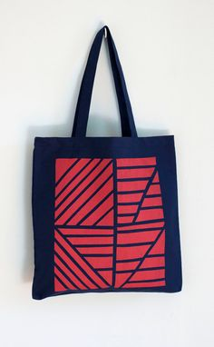 Normandie tote in red and navy blue