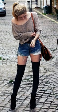 cute, but not very practical in the winter. :P How about opaque tights or leggings, instead of the knee-highs? :D