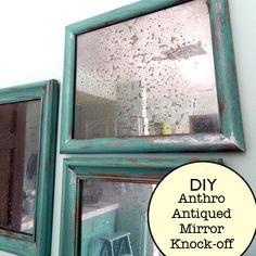 Anthropologie mirror knock off tutorial diy home decor, heart craft, mercury glass, antique mirrors, old frames, picture frames, antiqu mirror, glass paint, faux antiqu