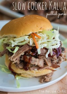 Slow Cooker Kalua Pulled Pork -- you'll love the tenderness of this delicious slow cooker dish. Put it in a sandwich and top with slaw. #CrockPot #SlowCooker #recipe