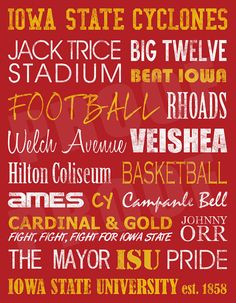 wall art, colleges, subway art, favorit, iowa state cyclones