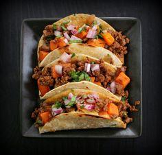 spicy beef sweet potato tacos