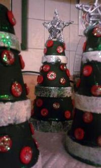 Xmas clay pot trees pot tree, christma clay, craft, clay pots