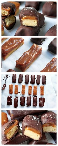 "Dark Chocolate and Salted Caramel ""Twix"" Bars - you're going to LOVE these easy homemade candy bars! So much better than the store bought stuff!"