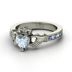 Aquamarine and Sapphire Stirling Silver Claddagh Ring