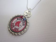 Boston RED SOX bottle cap necklace with silver by timbrodamore, $20.00