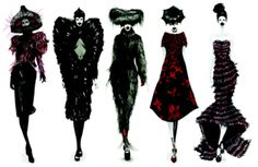 alexander mcqueen, fashion sketches, art, fashion designers, gothic fashion