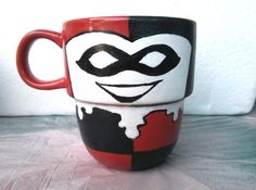 Hand Painted Harley Quinn Stackable Mug by TheCornerGeekery, $15.00
