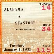 Alabama drink coasters, Alabama football ticket coasters made from an authentic 1935 Rose Bowl football ticket!