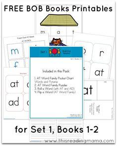 FREE BOB Book Printables: Set 1, Book 1 & 2 | This Reading Mama