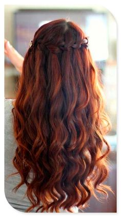 simple waterfall braid hair idea