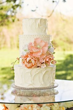 pink flowers, no fondant wedding cake, peach weddings, peach and ivory wedding, purple flowers, shower cakes, ivory wedding cakes, white cakes, peach floral