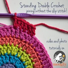 Standing Double #Crochet - joining without the slip stitch! Photo and Video #Tutorials on Moogly!