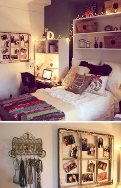 hipster, college bedroom ideas, old windows, apartment, desk, shelv, picture frames, college dorm rooms, college dorms