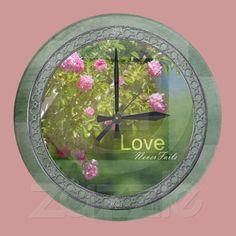 Romantic Roses Garden Wall Clocks from Zazzle.com