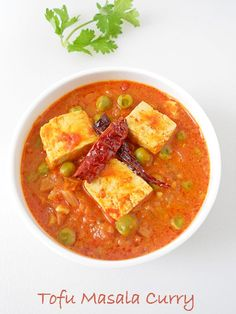 Tofu Matar Masala Curry Recipe, a quick and easy Indian side dish with step by step picture tutorial. #easyindianrecipes #tofu