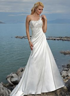 Attractive One Shoulder Sleeveless Satin wedding dress...gorgeous! This would be beautiful with or without the shoulder strap