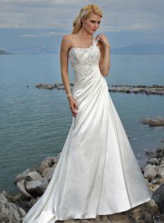 Attractive One Shoulder Sleeveless Satin wedding dress...gorgeous!