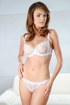 #Sexy Bridal #Lingerie - see through mesh demi bra featuring ultra transparent fabric with pretty floral embroidery - $59.00