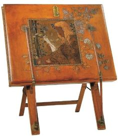 Art Nouveau Leather Portfolio on Stand. Tooled, Inlaid & Painted Leather with Oak & Brass Stand. Europe. Circa 1900. From the Robert Zehil Collection.
