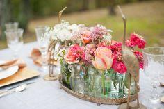 antique bottles, tablescape bottles, simple centerpieces, tray, flower ideas