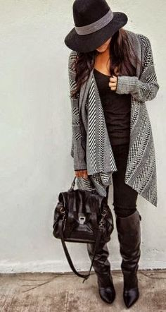 blanket cardigan + black leggings + black tank